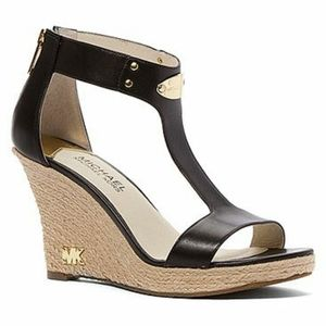 Michael Kors Plate Espadrille Leather Wedge